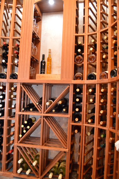 Custom wooden wine racking in cambara mahogany
