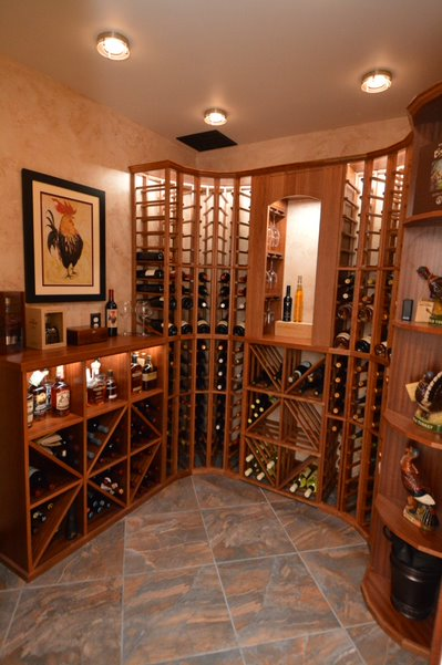 custom lighting for a Baltimore residential wine cellar