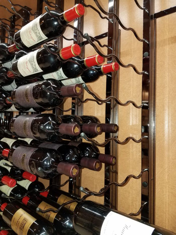 Striking Wine Display with 3-Bottle Deep Metal Wine Racks by VintageView
