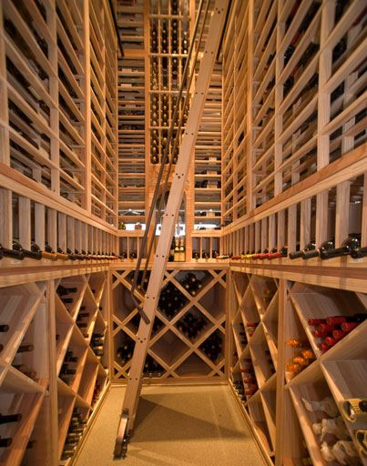 Wooden Wine Cellar Ladder with Metal Handrails