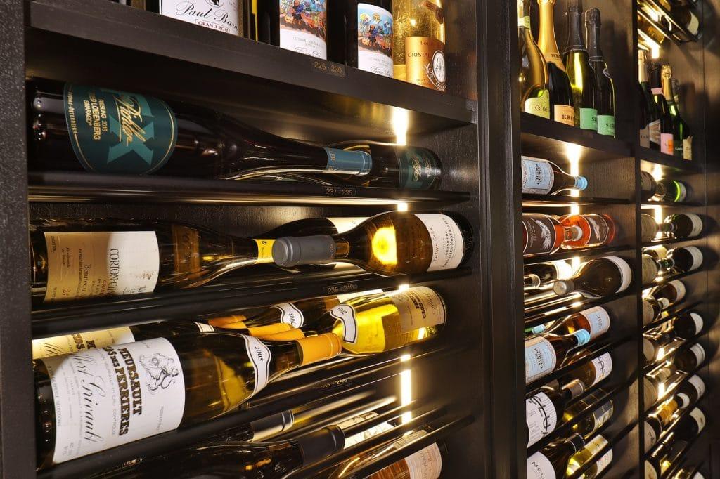 LED Lighting showcases wine bottles