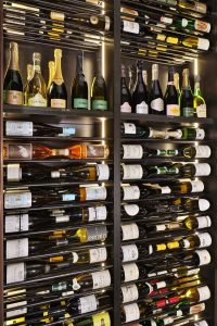 Metallic wine racking for both wine and champagne