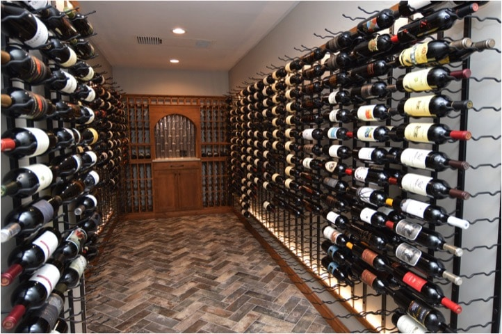Transitional Home Wine Cellar